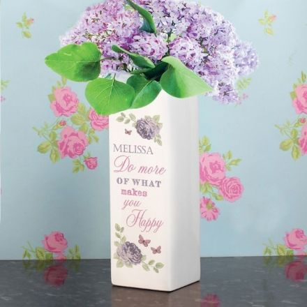 Personalised Square Vase - Secret Garden